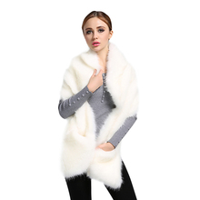 Top Quality! New Fashion Hot Sell Winter Ladies Faux Fox Fur White Shawl Scarf Women's Warm Wrap Stole Scarves DM#6