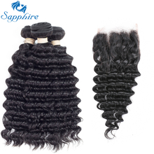 Sapphire Deep Wave Remy Human Hair 3 Bundles With Closure 1B#Color For Hair Salon High Ratio Longest Hair PCT 15% Brazilian Hair