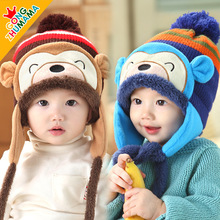 5 Colors New Infant Baby boys girls cute Monkey hat Plush ear kids hat Baby cap,Winter autumn  warm Children hats