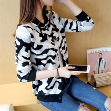 45 springtime new Korean camouflage baseball shirt knitted sweater jacket  female F1450-2017