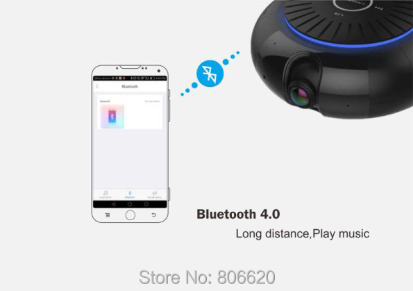 Panoramic 180 Degree 1080P HD Wifi IP Camera Built-in 5W Hifi System Bluetooth Speaker Internet Music byFree App Remote Control_F8