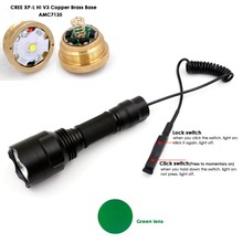 Hunting Torch Lanternas C8 CREE XP-L HI V3 LED Copper Base 12x7135 Driver LED Flashlight +Dual Mode Remote Switch+Green Lens(China)