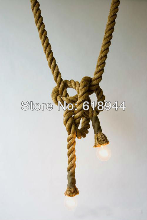 Vintage hemp rope pendant lights rustic pendant lighting E27/E26 antique dining room set<br>