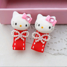 1pcs 2017 New Fashion Pearl Bow Cartoon Cat Hairpins Baby Hair Accessories Children Headwear Girls Hair Clips Headdress