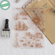 Unique Sailing Boat Compass Transparent Stamp Cling DIY Seal Craft Art Scrapbooking Photo Album Paper Card Diary Handbook Making(China)