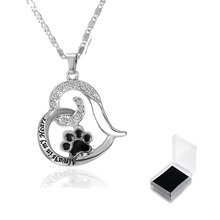 Paw Print Heart Pet Lover Pendant Necklace Animal Keepsake Charms jewelry Pet Memorial Jewelry Always in my Heart Dog Cat Foot(China)