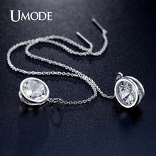 UMODE New Arrival Elegant Brand Drop Earrings Rhodium color Long Earrings For Women Fashion Jewelry Boucle d'oreille AUE0205(China)