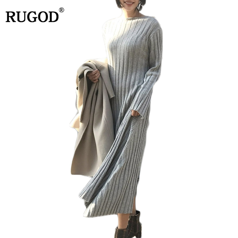 RUGOD 2018 Women casual Sweater Dress Spring Winter Fashion o Neck Bodycon Basic long Solid Color Knitted Dress Pullover Îäåæäà è àêñåññóàðû<br><br>