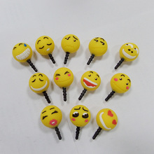 10 pcs/lot Cartoon QQ Alibaba platform Chat smiley face doll Design Mobile Phone Ear Cap Dust Plug For Iphone Samsung 3.5mm plug
