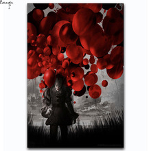 ZP386 IT 2017 Movie Stephen King Hot New Horrible Film PennyWise Art Poster Silk Light Canvas Painting Print For Home Decor Wall