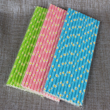 Lovely Light pink/blue/green Daisy Flower paper Straws Kids Birthday Baby Shower Wedding Party Outdoor Party Decoration Supplies(China)