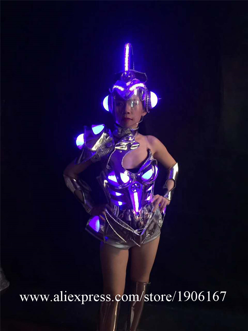 Sexy singer luminous wears clothes cosplay disco stage car models performance led costume ballroom dance dresses party dj5