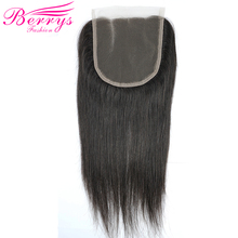 [Berrys Fashion] Lace Closure 3 part 5x5 Brazilian Straight Hair 100% Human Hair Bleached Knots Natural Hair line Remy Hair(China)