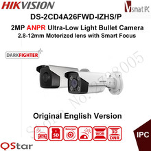 Hikvision 2MP ANPR Ultra-Low Light Smart IP Camera DS-2CD4A26FWD-IZHS/P LPR Bullet CCTV Camera POE Motorized 2.8-12mm 50mIR IP67(China)