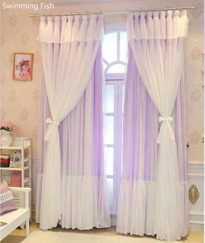 New Korean dream 3 Layers curtains for Girl's Bedroom Princess wind wedding room lace sheer tulle multi-layer window curtain