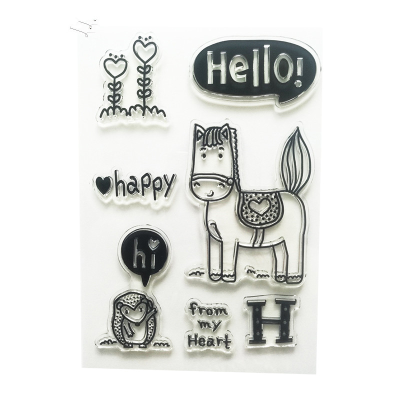 hello I am a lovely horse Transparent Clear Stamp Seal For DIY Scrapbooking Decorative Clear Stamp Sheets NIL023<br><br>Aliexpress