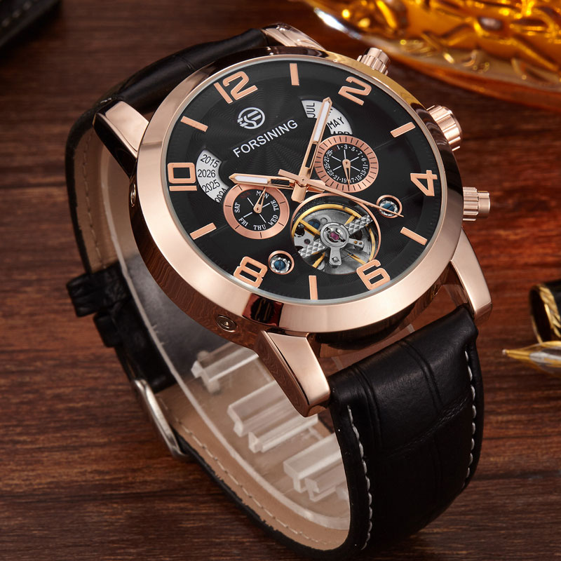 Famous Top Brand Fashion Mens Genuine Leather Automatic Mechanical Watch Mens Calendar Multifunction Sport Military Mens Watches<br><br>Aliexpress
