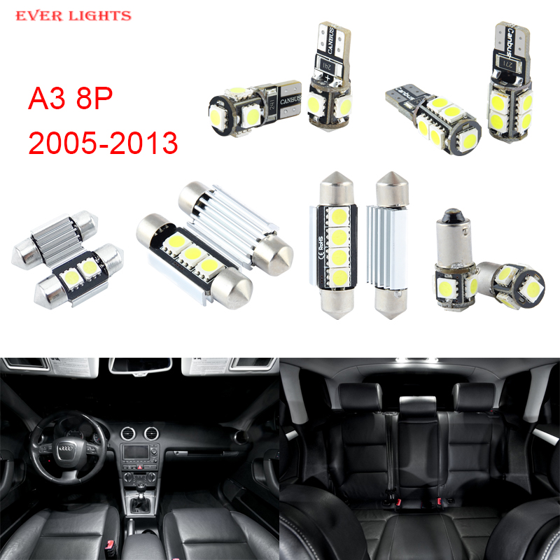 12pcs LED Canbus Interior Lights Kit Package For Audi A3 8P (2005-2013)<br><br>Aliexpress