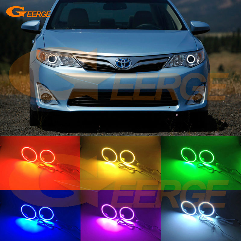 For Toyota Camry 2012 2013 2014 SE Daihatsu Altis Excellent Multi-Color Ultra bright RGB LED Angel Eyes kit Halo Rings<br>