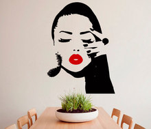 Removable Wall Sticker Vinyl Salon Girl Face red lips Wall Decor Sticker Home Decor Mural Living Room Bedroom Wall Decal M-189(China)
