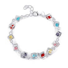 Newly Arrival Trendy Charming Multi-colour Cube Lab Shaped Woman Bracelet Jewelry Accessories BL-0307(China)