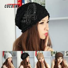 COCOTINA Sequin Lace Hat Fashion Lace Sequin Toe Cap With A Butterfly Sticker Knitting Pile Cap Women's Head Accessories D02379(China)