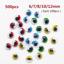 Size 6/7/8/10/12mm 500pcs Multicolor With Eyelash Eye Activities Moving Eyeball Plastic Eyes Scrapbook For Doll Toy Accessories(China)