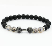 AoSong  Frosted matte Lava stone Crystal Antique Silver Barbell Jewelry Male Female Fit Life Dumbbell Beads Bracelets pulsera