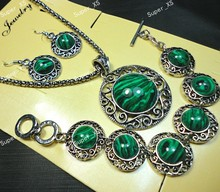1sets Top Circle Malachite Stone Bracelet Earrings Necklace 3 in 1 Jewelry Lots wholesale Jewelry Sets Free shipping LR541