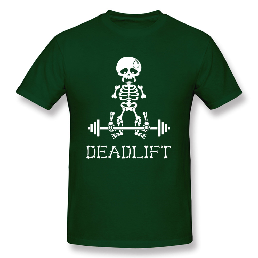 Deadlift-Skeleton-white T Shirt for Men Print Summer/Autumn Tops & Tees Short Sleeve Company Top T-shirts O Neck 100% Cotton Deadlift-Skeleton-white dark