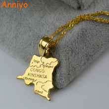 Anniyo Democratic Republic of the Congo Small Map Gold Color DRC Pendant Necklace Chain 45cm/60cm Jewelry For Women Girl