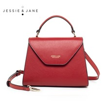 JESSIE&JANE Women Leather Crossbody Handbag Stylish Top Handle Bag Shoulder Bag with Triangle Cover 1605(China)