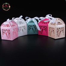 Big Heard Love 50pc laser cut bride and groom wedding box candy box wedding favor box gift box wedding decoration party supplies(China)