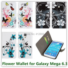 for Samsung i9200 Galaxy Mega 6.3 Colorful Flower Printed Folding Leather Wallet Pouch Back Skin Covers Case High Quality Free(China)