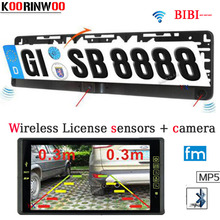 Wireless Car Parking Sensor 9inch car Monitor Bluetooth Mp5 FM License Plate Frame Rearview camera Parktronic Reversing Parking