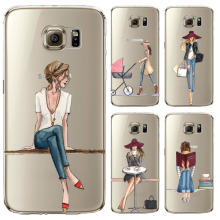 Phone Case for Samsung Galaxy S5 S6 S6Edge S6Edge+ S7 S7edge Cover Soft Silicon Painted Fashion Shopping Girl Mobile Phone Bag(China)