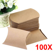 100PCS Cute Kraft Paper Pillow Favor Gift Box  Favour Gift Candy Boxes Paper Gift Box Bags Supply For Wedding Party