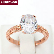 Top Quality Four Claw Oval Cubic Zirconia Rose Gold Color Wedding Ring For Women Girl Wholesale ZYR427 ZYR428