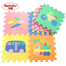 Children Mini Soft Crawling Baby Play Mat Cartoon Vehicles Baby Mat Play Alfombra Goma Eva Puzzle Floor Tapete Infantil 9 Pcs(China)