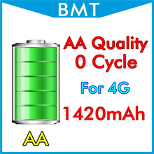 BMT original 10pcs/lot AA Quality Battery for iPhone 4 4G 1420mAh 3.7V 0 zero cycle replacement repair parts BMTI4G0BTAA(China)