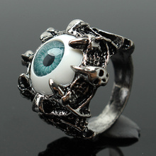 Refaxi 2pcs Men's Retro Rock Punk Vintage Evil Eye Skull Claws Antique Silver Finger Ring Jewelry 4Sizes