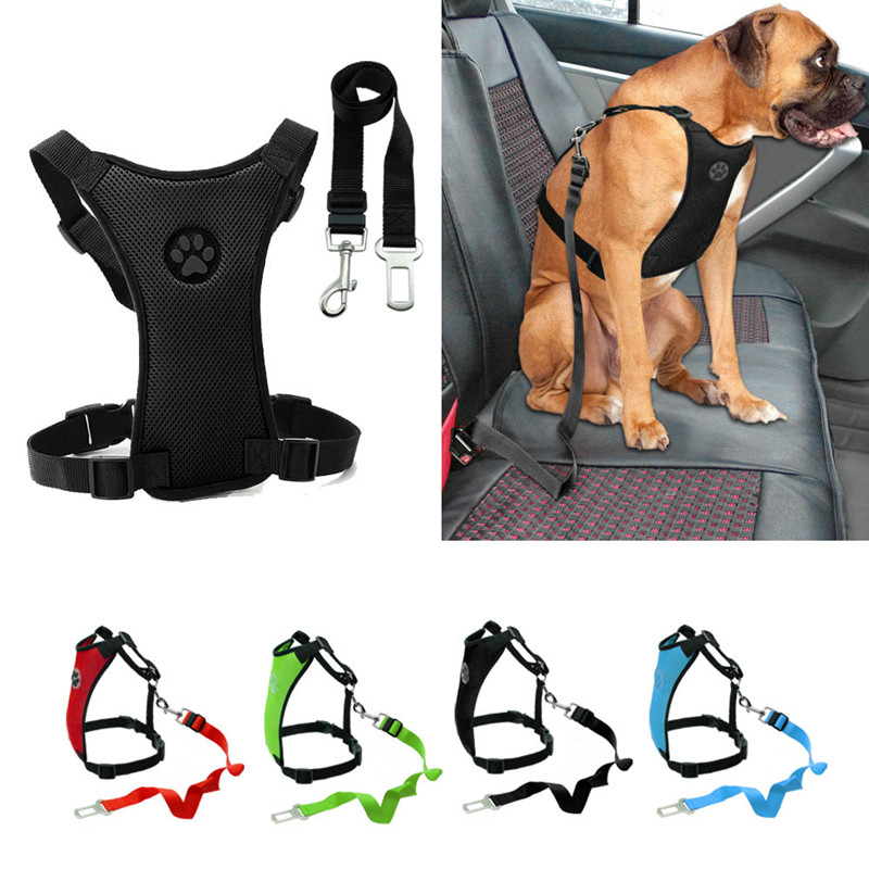 Breathable Mesh Dog Harness Leash With Adjustable Straps Pet Harness With Car Automotive Seat Safety Belt Dog Chest Straps (5)