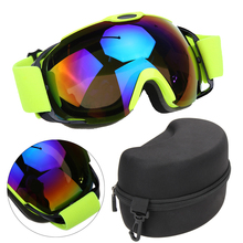 Unisex Double Lens UV400 Anti-fog Ski Snowboard Glasses Winter Sport Protective Skiing Eyewear Goggles Glasses with Case