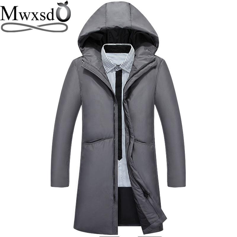 Mwxsd winter Casual men's white duck down jacket and coat Men Fur Collar Thick Warm Parka down Snow jacket male winter clothing