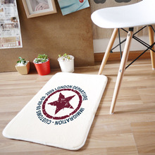 40x60cm High Quality Carpet Coral Velvet Retro Five Star Printing Rugs Living Room Cartoon Carpets Doormat Bedroom Bathroom Mat