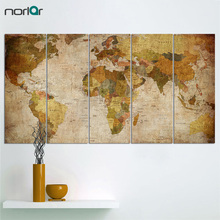 World Map Canvas Prints Wall Art Decor 5 Panels Large Retro Map of the World Painting Pictures Giclee Art Reproductions Unframed