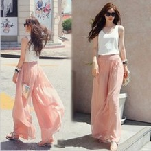 Buy Summer new wide leg chiffon pants women Fashion Solid Color high waist loose casual Pleated pants Female Party Clothes P1026 for $11.74 in AliExpress store