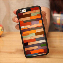 Newest Colorful Wood Panels Phone Cases OEM For iPhone 6 6S Plus 7 7 Plus 5 5S 5C SE 4S Soft Rubber Back Cover Shell OEM