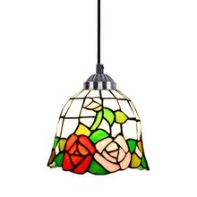 Classic Vintage Rose Bar Pendent Lamp Pastoral Tiffany Dining Room Pendent Lamps Hallway Balcony Pendent Lights(China)