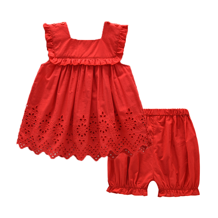 2017 Summer Red Girls Clothing Sets Tops and Shorts Casual Baby Girl Clothes Suit<br><br>Aliexpress